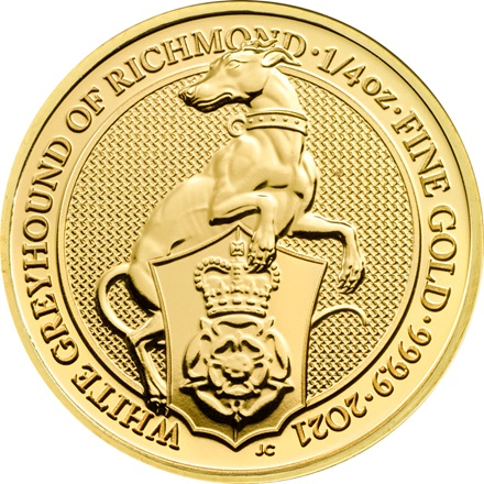Gold The White Greyhound of Richmond 1/4 oz - The Queen's Beasts 2021